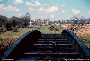 R82 Betws Garmon river bridge with station beyond 19600416.jpg