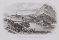 A contemporary engraving of a horse hauled train of waggons on the Cob together with a gravity train at Rhiw Plas.