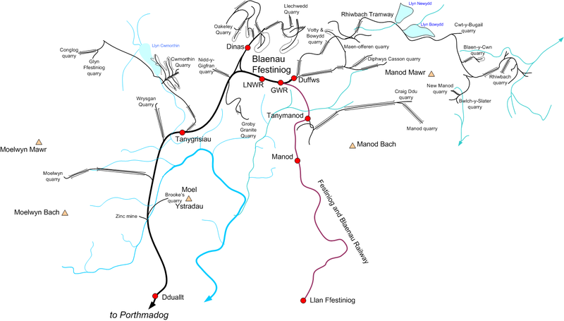 Map of the principal quarries and feeder tramways at Blaenau Ffestiniog. Not all tramways existed at the same time